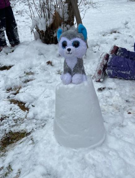 Snow castle with a stuffie