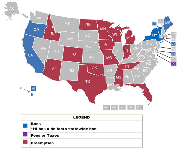 States with Enacted Plastic Bag Bans or Fees