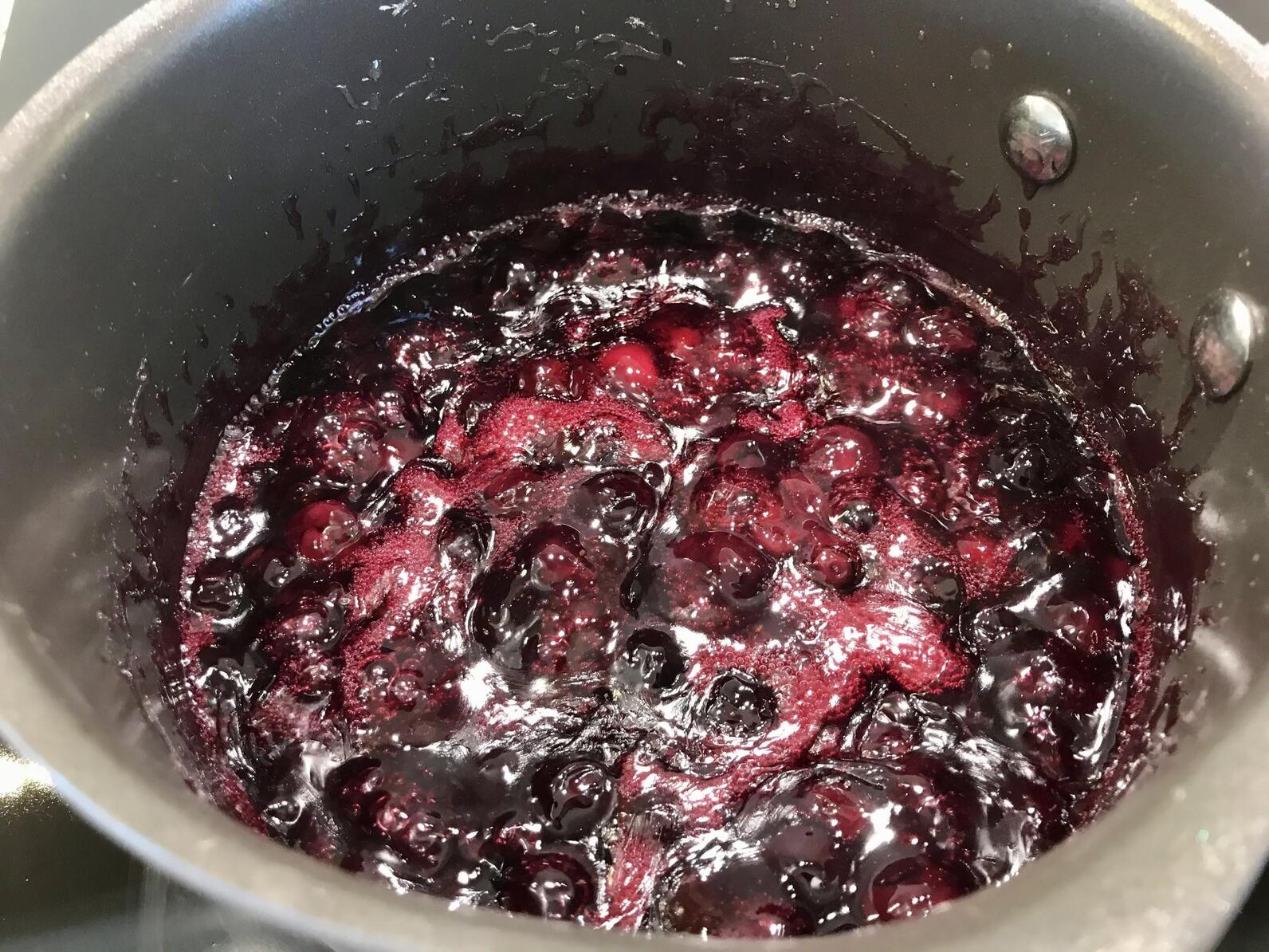 Making the berry and sugar mixture