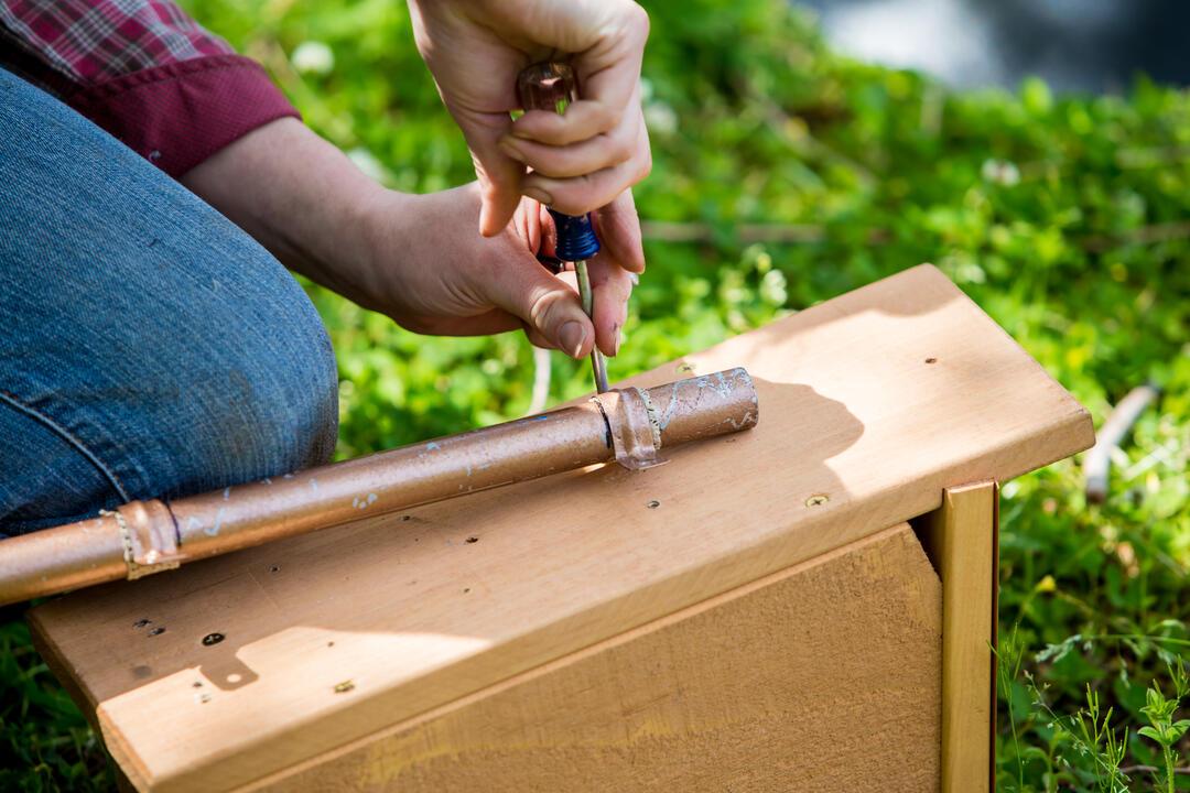 Building a bird nest box.